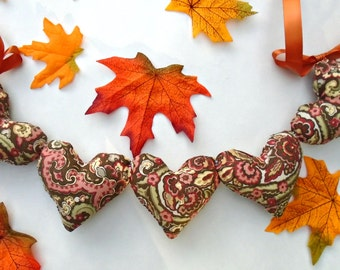 Gorgeous Autumn Paisley Heart Garland / Browns / Chocolate Paisley / Greens / Oranges / Fabric Hearts / String Hearts / Heart banner / Fall