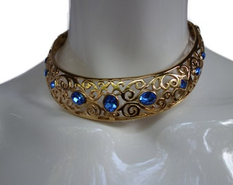 YSL Yves Saint Laurent Vintage Couture Gilt and Blue Faceted Stones Choker