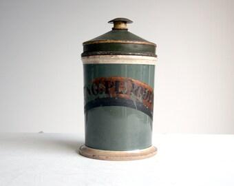 green antique ceramic apothecary chemist pharmacy jar