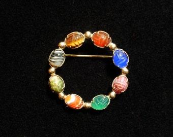 SCARAB Circle Pin 8 Stones 12K Gold Filled Orange Banded Agate