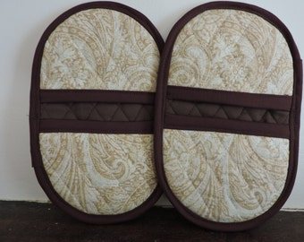 Mini Microwave Mitts-Oven Mitts-Pinchers-Gold Paisley Pattern w/Brown Trim-Free Shipping