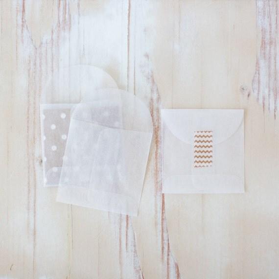 """Glassine Mini Square Envelopes - 10 pc / 25 pc / 50 pc / 100 pc - 2.75"""" x 2.75"""""""