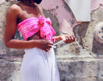 Pink Hand Dyed Silk Tasseled Scarf