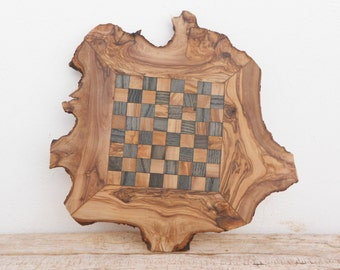 Unique Olive Wood Natural Edges Chess Board, Dad gift, Valentines Day Gift