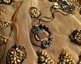 Steampunk Silver Accented Necklace