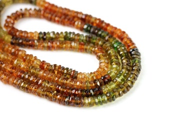 Afghan Petro Tourmaline Micro Faceted Rondelles 20 Golden Brown Olive  Semi Precious Gemstone October Birthstone