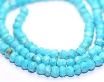 Valentines Sale Turquoise Micro Faceted Rondelles Set of 12 Light Blue Semi Precious Gemstones