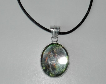 Dichroic Glass pendant leather necklace (#536-3)