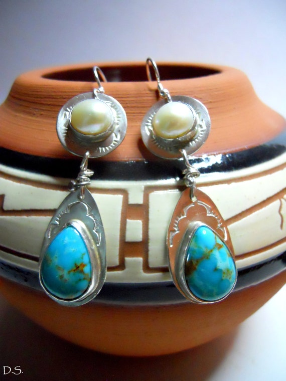 Handmade Southwestern Boho Chic Blue Kingman Arizona Turquoise  Freshwater Pearl, Hand Stamped Sterling Silver Pear Shape Dangle Earrings