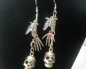 Skeleton bones and Skull Halloween Earrings