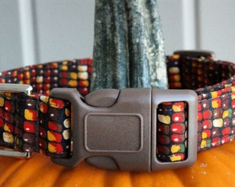 Handmade Cotton Dog Collar - Indian Corn