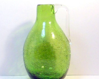 Crackle Glass Jug Pitcher Olive Green Hand Blown Pilgrim Glass Vintage 1950s
