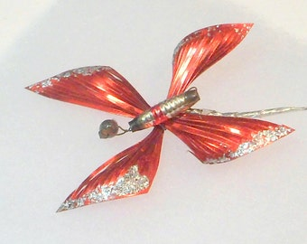 Christmas Ornament Mercury Glass Butterfly Feather Tree Vintage 1940s