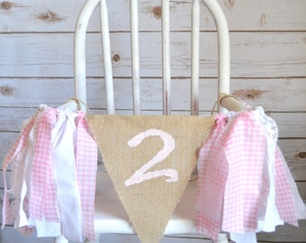 high chair banner second birthday - gingham banner - second birthday prop - gingham high chair banner  - 2nd birthday decor - 2nd birthday