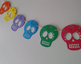 Day of the dead garland - banner dia del muerto mexican fiesta skulls