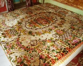 "Velvet Gypsy Bedspread, Italian, Cherubs and Roses, 98""l. x 78""w."