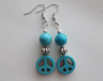 Peace and Turquoise Long Earrings (512)