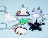 Keychain keyring charm, cute bag backpack charm, kawaii zipper pull key ring, Bunny Chinchilla Turtle Hedgehog Bat, boy girl gift, acrylic