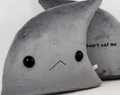 Shark Fin Pillow, Fin stuffed animal, Kawaii shark fin cushion, handmade embroidered plushie, decorative throw pillow, kids room decor