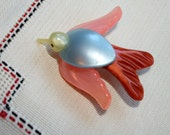 Antique Celluloid Bird Pin, 1930s, Pastels, C Clasp