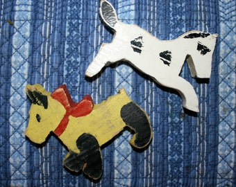 Vintage Handmade Wooden Animals, Horse and Dog, Painted Toy, Rough Cut