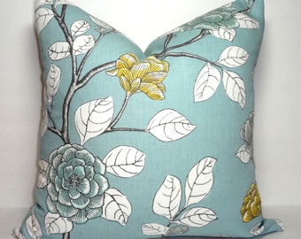 Robert Allen Dwell Studio Leda Peony Blue Gold White Floral Pillow Cover Size 18x18