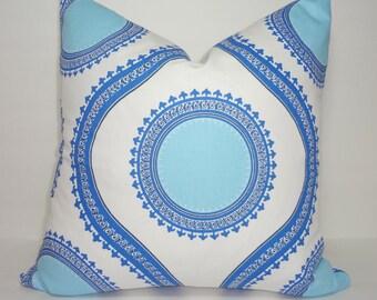 Decorative Accent Pillow Cover Susette Cobalt Blue Geometric Pillow Cover Choose Size