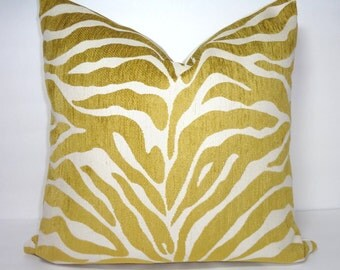 Gold Zebra Pillow Cover Throw Pillow Decorative Citrine & Ivory Flocked Zebra Print Pillow Cover Size 18x18
