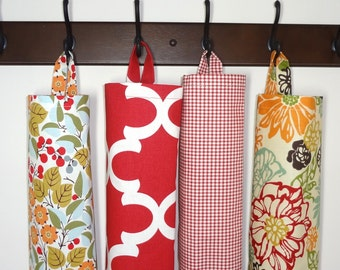 Plastic Bag Holder Grocery Bag Storage Kitchen Bag Storage Invigorate Plaid Red Fynn Red Berries Storage Bag Holder