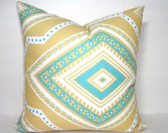 Decorative Accent Pillow Cover Gita Coastal Blue Saffron Yellow Geometric Pillow Cover Choose Size