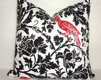 Black & White Floral Red Bird Print Pillow Cover Throw Pillow Decorative Pillow 18x18