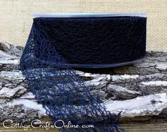 "Ribbon Black Web, 1 1/2"" wide - FIVE  & 7/8  YARD Length - May Arts, Webbed Weave, Net Lace #415, Halloween Black Craft Ribbon, Sewing Trim"
