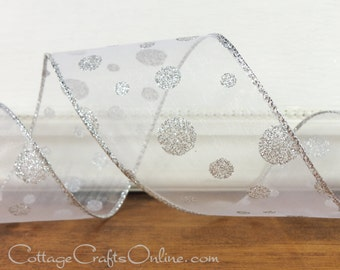 """Christmas Wired Ribbon, 2 1/2"""",  White Sheer with Silver Glitter Polka Dots - TEN YARDS -  """"White Silver Dot"""" Wire Edged Ribbon"""