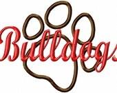 Bulldogs - Paw Print - Applique - Machine Embroidery Design - 7 Sizes