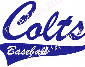 Colts - Baseball Swoosh - Middle Brother - Machine Embroidery Design - 5 Sizes