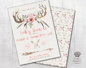 Boho Antlers, feathers, arrows and Flowers Baby Shower, Birthday, Wedding Shower Invite DIY Printable