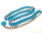 faux Turquoise Silver Chain Link Belt, Large, Excellent