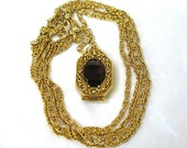 signed GOLDETTE Locket Necklace Amethyst Rhinestone Double Chain Victorian