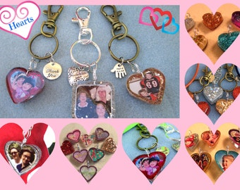 Keychains Heart Shaped Custom Photo Glitter Back with 2 Charms