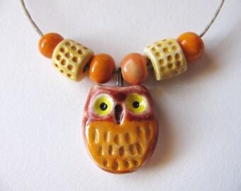 Autumn Owl Pendant & Beads Earthenware Clay