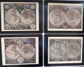 Vintage Old World Maps Placemats by Pimpernel - Set of 4 - Cork Backed in Original Box - 17th Century Atlases - Home Decor - Gift