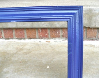 Large Navy Blue Wood Picture Frame Mid Century Vintage