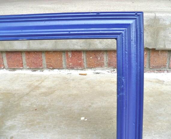 large navy blue wood picture frame mid century vintage. Black Bedroom Furniture Sets. Home Design Ideas