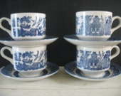 Vintage Blue Willow Teacups and Saucers - Churchill England