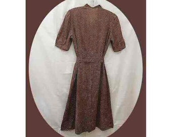 Vintage 1930's Summer Dress Brown Dotted Swiss Cotton Short Sleeves – Size 5-7