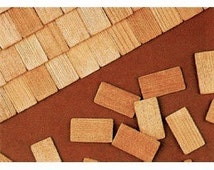 CEDAR Shake Shingle Wooden Roofing Craft Supplies for Buildings, Kits, Bird House, Scrap Booking, Doll Houses /  Approximately 300 pc.