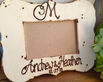 Mongrammed  Wedding Picture Frame with Names, Last Initial and Wedding Date