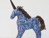 Stuffed toy unicorn handmade paisley softie plush fantasy toy unicorn horse gift for baby shower nursery decor home decor
