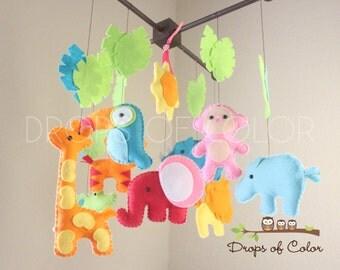 "Baby Crib Mobile - Baby Mobile - Nursery Jungle Mobile ""BIG Safari Playland"" - Jungle Tropical Mobile (You can pick your animals and colors)"