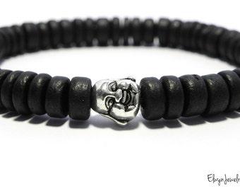 Buddha Bracelet, Black Beaded Bracelet, Black Mens Bracelet, Mens Jewelry, Buddha Jewelry, Mens Beaded Bracelet, Mens Gift, Coconut Bracelet